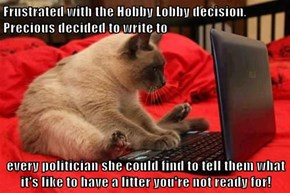 Frustrated with the Hobby Lobby decision, Precious decided to write to   every politician she could find to tell them what it's like to have a litter you're not ready for!
