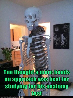 Tim thought a more hands on approach was best for studying for his anatomy test