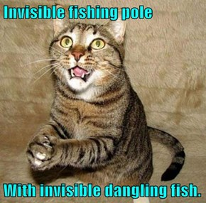 Invisible fishing pole  With invisible dangling fish.