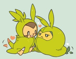 Squee: Chespin Pretending to Be Swadloon