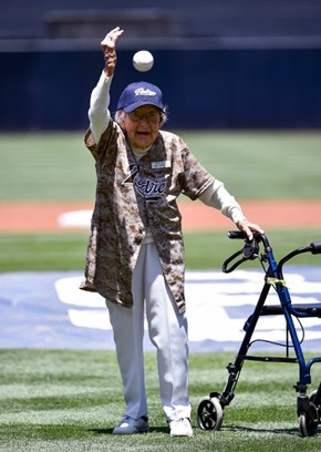 105-Year-Old Agnes McKee Threw the First Pitch for the San Diego Padres (and it Was Still Better Than 50 Cent's Attempt)