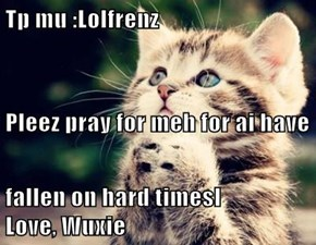 Tp mu :Lolfrenz Pleez pray for meh for ai have fallen on hard timesl           Love, Wuxie