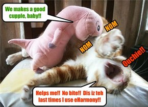 "Kittie only wanted to go out for a ""bite to eat"" wiff hiz blind dates! He neber thawt it would ends dis way!"