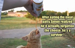 After eating the meat patty,Simon realized he'd actually forgotten the cheese..he's a survivor !