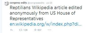 Someone With a Congressional IP Address is Trolling Wikipedia, and They Just Got Banned