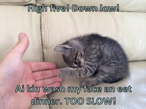 High five! Down low!  Ai kin wash my face an eet dinner. TOO SLOW!