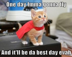 One day Imma gonna fly  And it'll be da best day evah