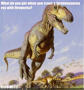 What do you get when you cross a tyrannosaurus rex with fireworks?  DINO-MITE!