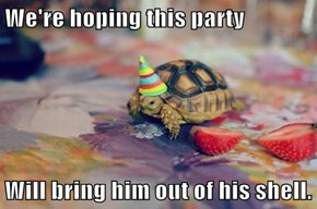 We're hoping this party  Will bring him out of his shell.