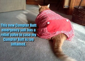 This new Cumpter Butt emergency suit has a relief valve in case my Cumpter Butt is too inflamed.