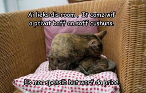 Ai lieks dis room .  It comz wif   a privat baff an soff cushuns.