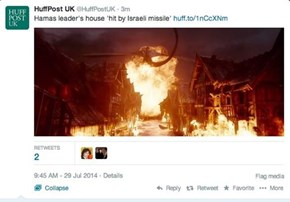 "HuffPo Confuses a Scene From the Middle East... With a Still from ""The Hobbit"""