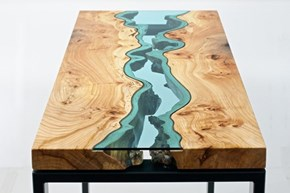 With Carefully-Cut Glass, These Ordinary Tables Look Like Flowing Natural Landscapes