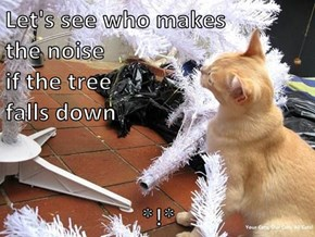 Let's see who makes                                                   the noise                                                   if the tree                                                   falls down        *!*