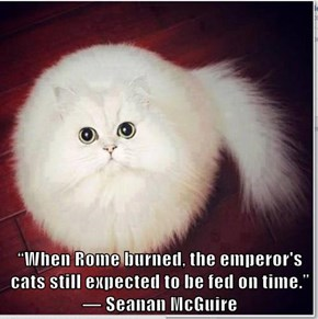 """When Rome burned, the emperor's cats still expected to be fed on time.""  ― Seanan McGuire"
