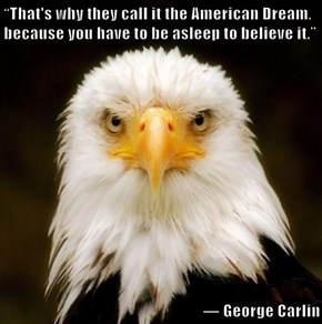 """That's why they call it the American Dream, because you have to be asleep to believe it.""    ― George Carlin"
