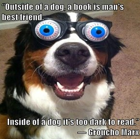"""Outside of a dog, a book is man's best friend.   Inside of a dog it's too dark to read.""                               ― Groucho Marx"