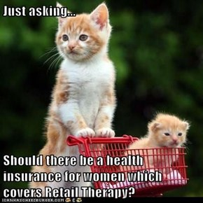 Just asking...  Should there be a health insurance for women which covers Retail Therapy?