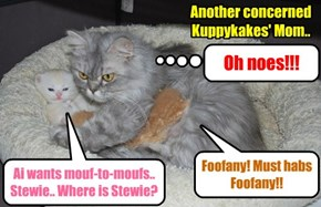 Dis Kuppykakes mom has boff a girl baby kittie an' a boy baby kittie.. So she haz twise teh problems!