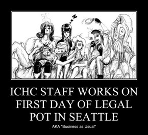 ICHC STAFF WORKS ON FIRST DAY OF LEGAL POT IN SEATTLE