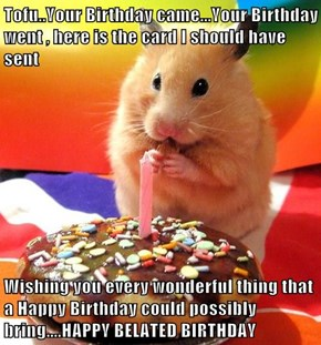 Tofu..Your Birthday came...Your Birthday went , here is the card I should have sent  Wishing you every wonderful thing that a Happy Birthday could possibly bring....HAPPY BELATED BIRTHDAY