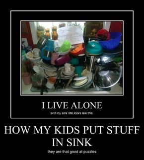 HOW MY KIDS PUT STUFF IN SINK