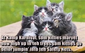 At Kamp Karnival, som kitties marvel how high up in teh trees som kitties go befor jumpin' into teh Safety Nets..