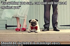 """Everything you say.. can and will be used against you""  Should be included in marriage vows."