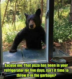 Excuse me. That pizza has been in your refrigerator for five days. Isn't it time to throw it in the garbage?