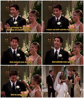 Ross Has a Rough History With Weddings