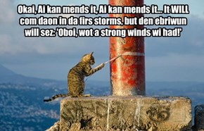 Okai, Ai kan mends it, Ai kan mends it... It WILL com daon in da firs storms, but den ebriwun will sez: 'Oboi, wot a strong winds wi had!'