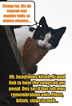Oh, beautimus kitteh, Ai wud liek tu heer the songs ob yor peepl. Dey sez U has teh mos remembramus vois. Plees, kitteh, sings to meh...