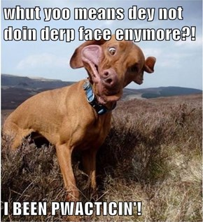 whut yoo means dey not doin derp face enymore?!  I BEEN PWACTICIN'!
