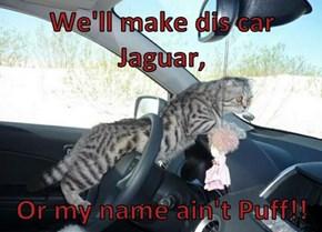 We'll make dis car Jaguar,   Or my name ain't Puff!!