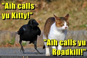"""Aih calls                                                                                       yu Kitty!""  ""Aih calls yu                                                                                     Roadkill!"""