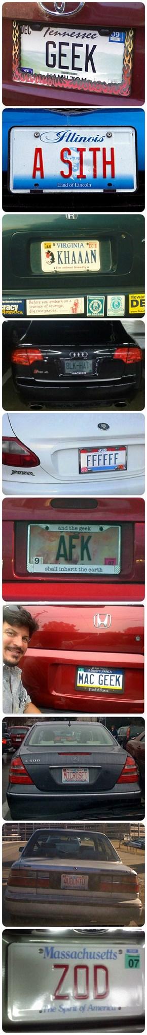 Top Geekiest Number (License) Plates