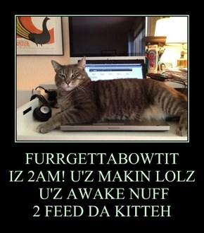 FURRGETTABOWTIT IZ 2AM! U'Z MAKIN LOLZ  U'Z AWAKE NUFF   2 FEED DA KITTEH