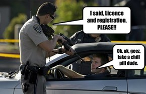 I said, Licence and registration, PLEASE!!