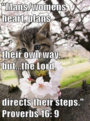 """""""Mans/womens heart, plans their own way, but...the Lord, directs their steps.""""  Proverbs 16: 9"""