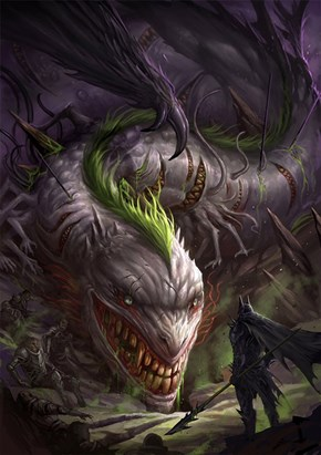 Medieval Batman vs Joker dragon