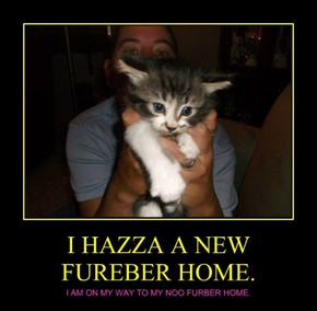 I HAZZA A NEW  FUREBER HOME.