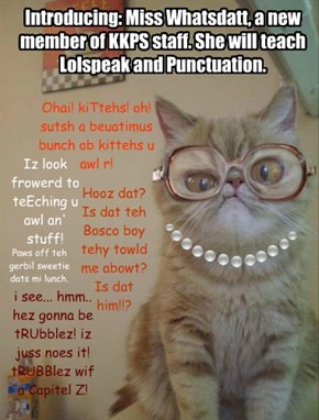 Introducing: Miss Whatsdatt, a new member of KKPS staff. She will teach Lolspeak and Punctuation.