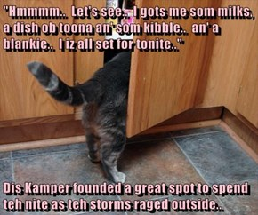 """""""Hmmmm..  Let's see..  I gots me som milks, a dish ob toona an' som kibble..  an' a blankie..  I iz all set for tonite..""""  Dis Kamper founded a great spot to spend teh nite as teh storms raged outside.."""