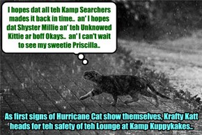 Krafty rang teh Alarm Bells as long as he could until teh rains from Hurricane Cat started an' dare were some lightnings! Den he rushed for teh safety of Kamp!
