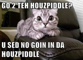 GO 2 TEH HOUZPIDDLE?  U SED NO GOIN IN DA HOUZPIDDLE