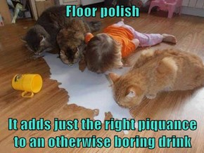 Floor polish  It adds just the right piquance to an otherwise boring drink