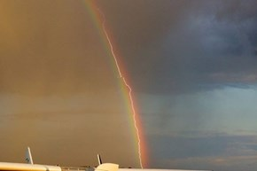 A German Airliner Captured the Perfect Meteorological Event With This Lightning Rainbow