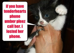 if you have tenderhearts phone umber pleez call her. i losted her phone.