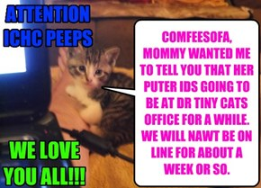 COMFEESOFA, MOMMY WANTED ME TO TELL YOU THAT HER PUTER IDS GOING TO BE AT DR TINY CATS OFFICE FOR A WHILE. WE WILL NAWT BE ON LINE FOR ABOUT A WEEK OR SO.