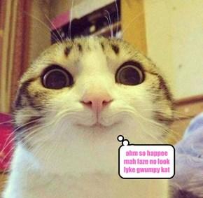 ahm so happee mah faze no look lyke gwumpy kat